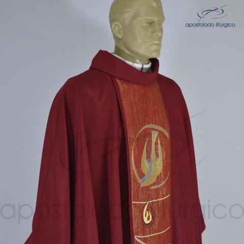 Casula Espírito Santo Vermelha Galão Solto [Frente Perfil Direito]