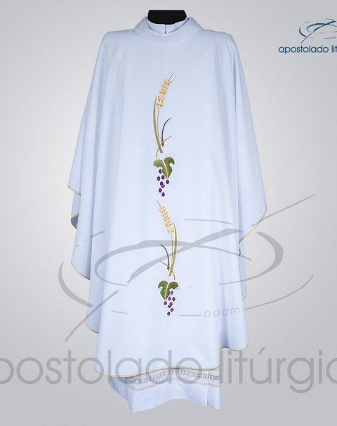 Casula Oxford Bordada [Trigo e Uva] Branca Frente – COD 3844