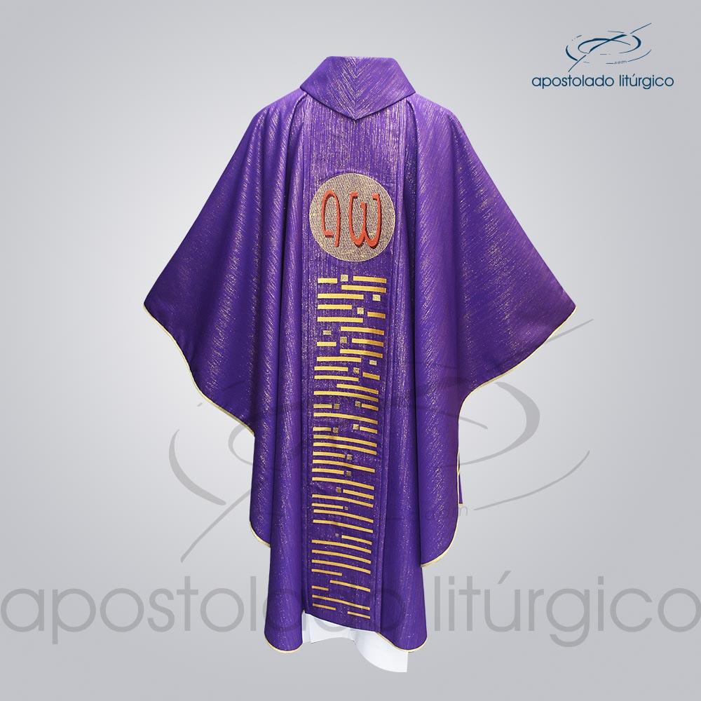 Casula Ravena Bordado Cordeiro Roxa Costas COD 3156 | Apostolado Litúrgico Brasil