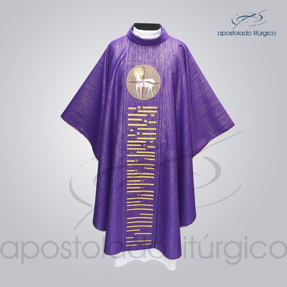 Casula Ravena Bordado Cordeiro Roxa Frente COD 3156 | Apostolado Litúrgico Brasil