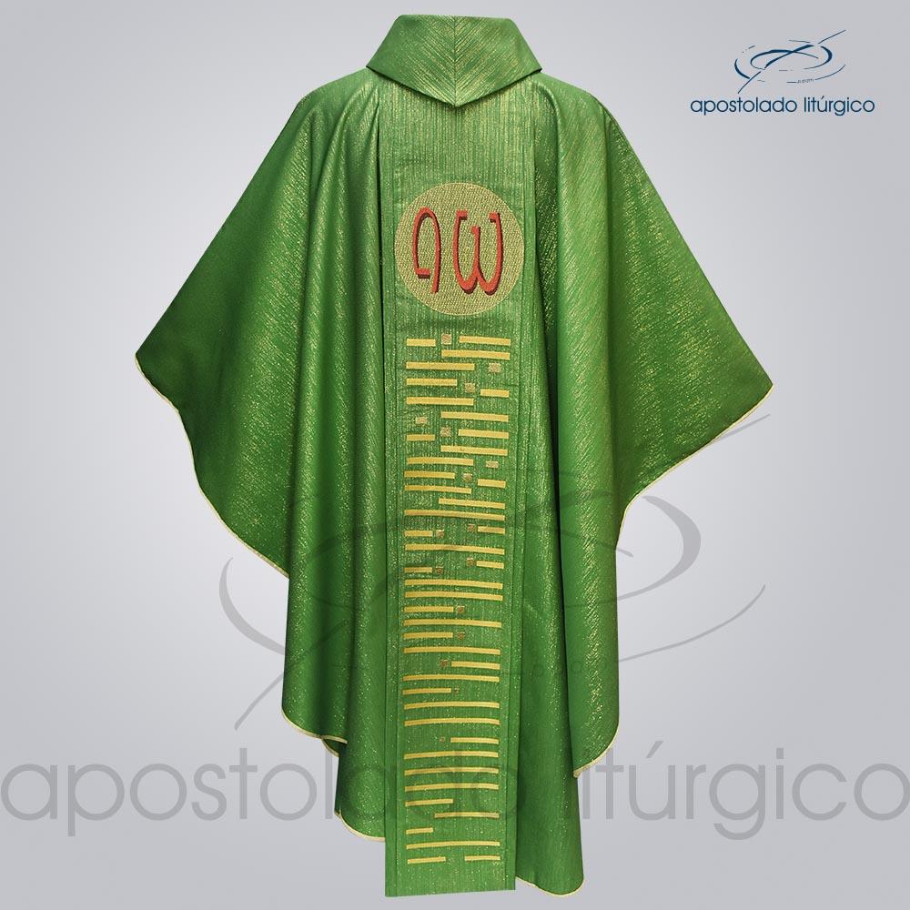 Casula Ravena Bordado Cordeiro Verde Costas COD 3154 | Apostolado Litúrgico Brasil