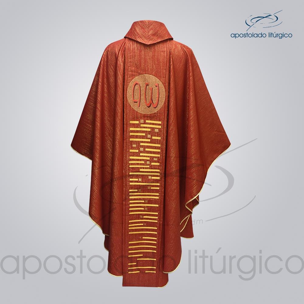Casula Ravena Bordado Cordeiro Vermelha Costas COD 3157 | Apostolado Litúrgico Brasil