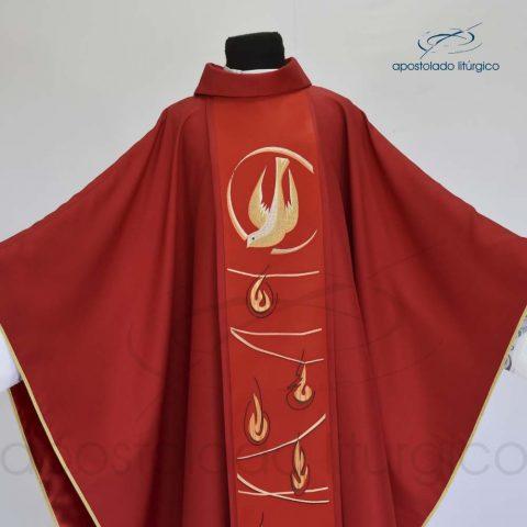 Casula Shantung Espírito Santo Vermelha Frente Aberta