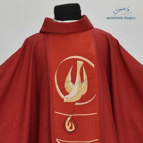 Casula Shantung Espírito Santo Vermelha Frente Gola