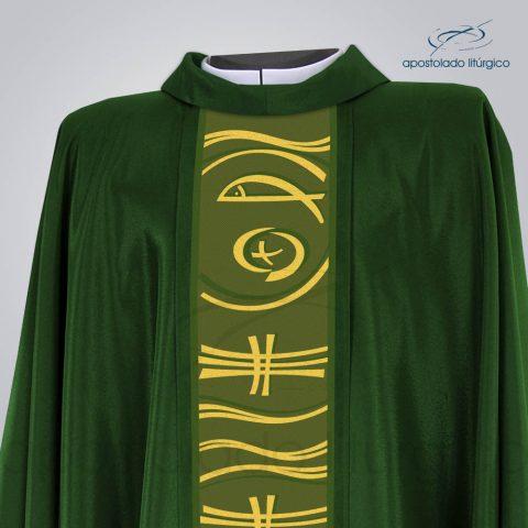 Casula Shantung Peixe Cruz Verde Escuro Frente Busto