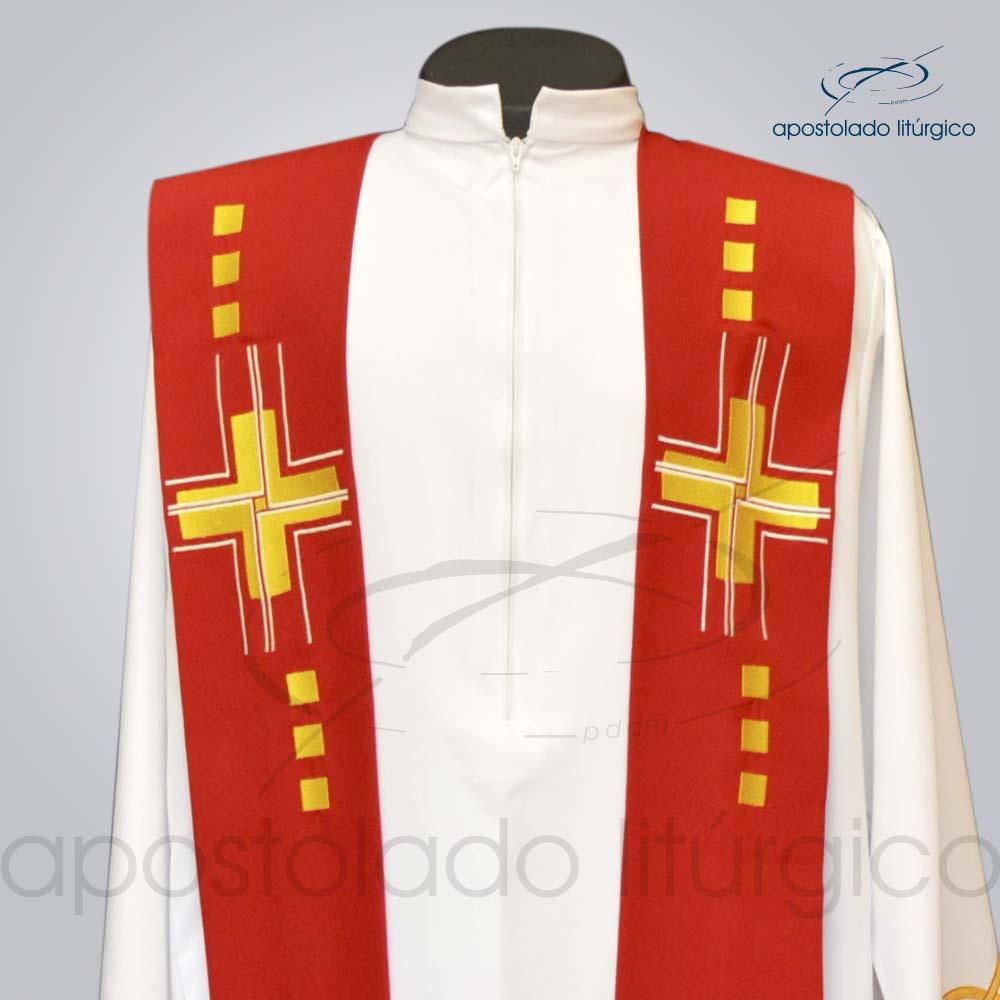 Estola Cruz Gloriae Presbiteral Oxford Vermelho Bordado