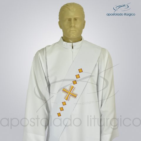Estola Diaconal Cruz Vida Branca Frente Busto