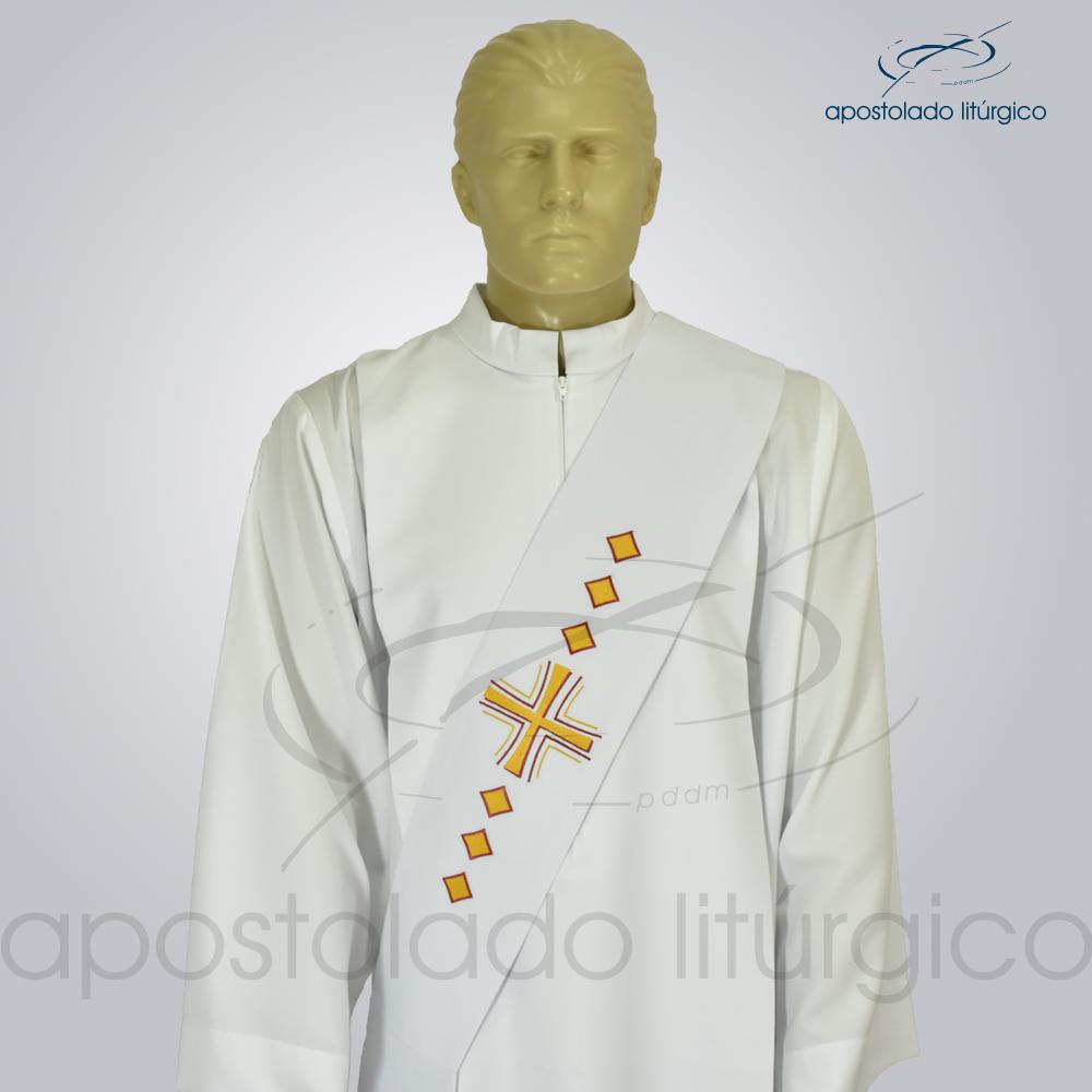 Estola Diaconal Cruz Vida Branca Frente Busto | Apostolado Litúrgico Brasil