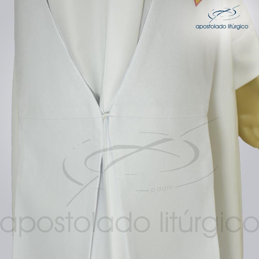 Estola Diaconal Cruz Vida Branca Lateral Inferior Detalhe | Apostolado Litúrgico Brasil
