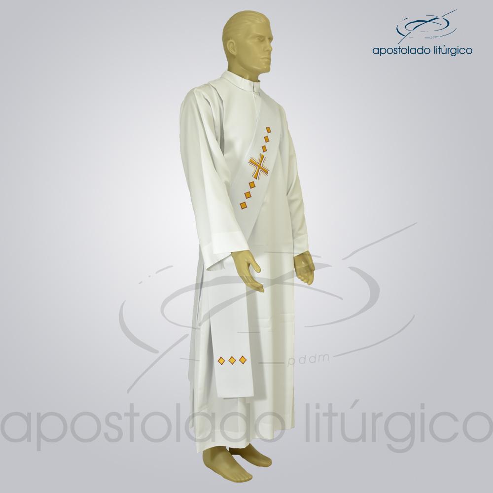 Estola Diaconal Cruz Vida Branca Lateral | Apostolado Litúrgico Brasil
