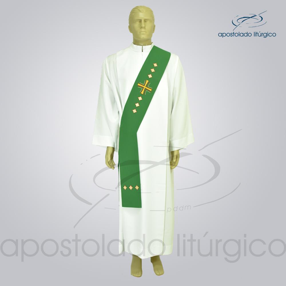 Estola Diaconal Cruz Vida Verde Frente | Apostolado Litúrgico Brasil