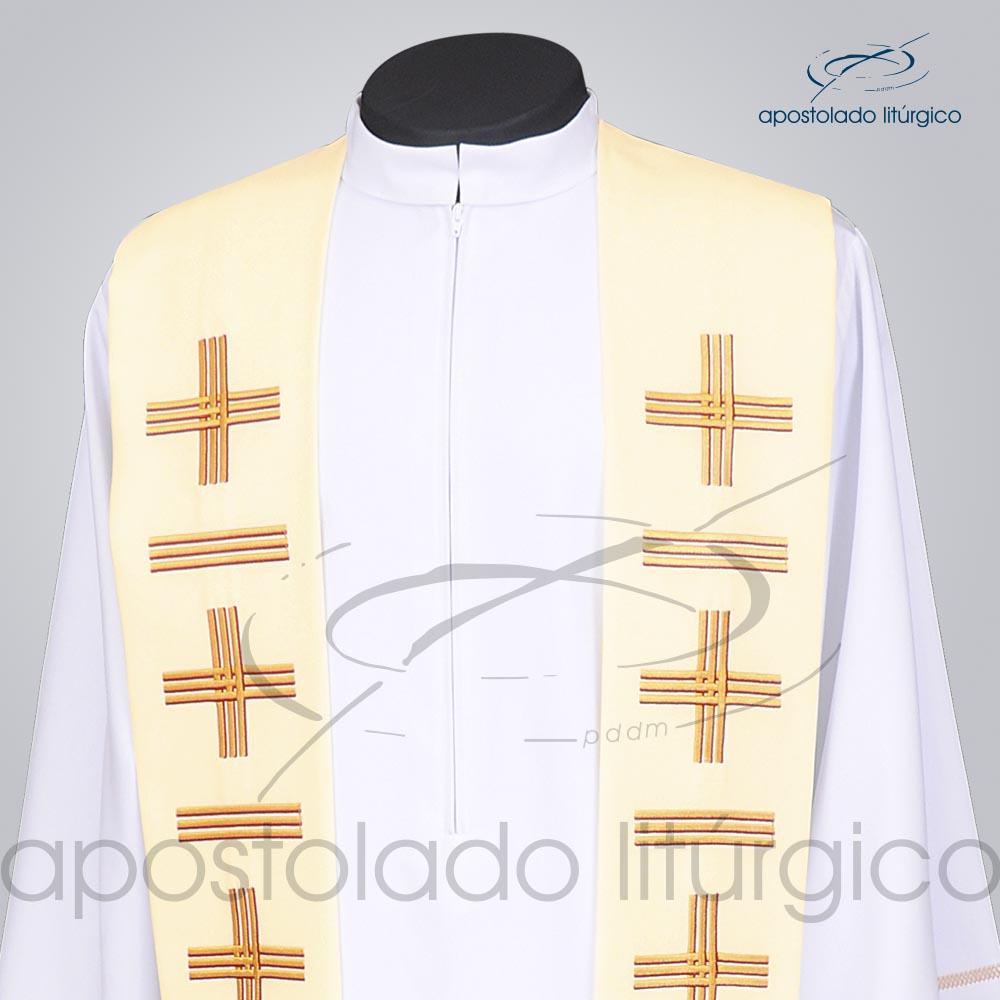 Estola Presbiteral Oxford Bordada Cruz Vida 1 Bege Frente Bordado Superior | Apostolado Litúrgico Brasil