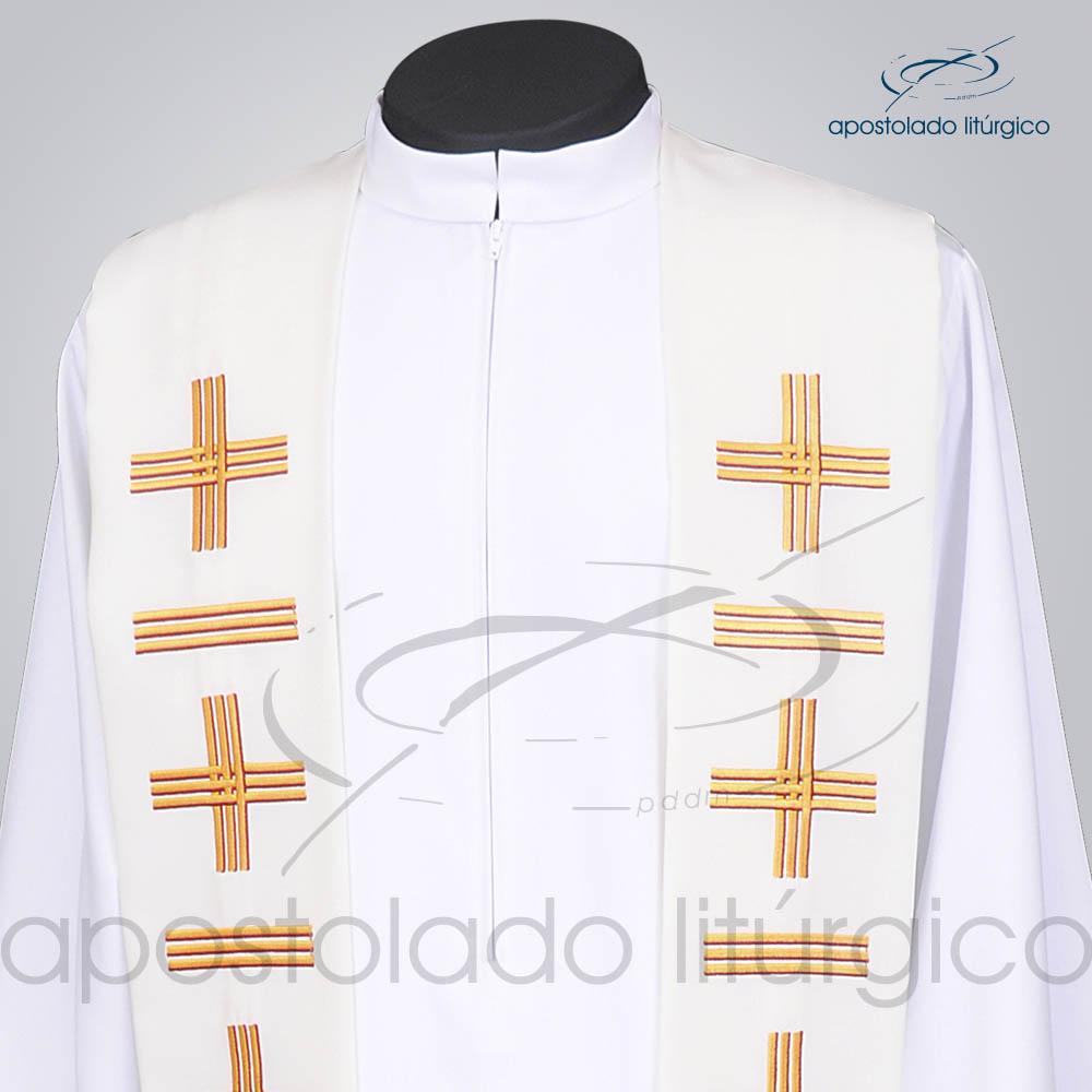 Estola Presbiteral Oxford Bordada Cruz Vida 1 Branca Frente Bordado Superior   Apostolado Litúrgico Brasil
