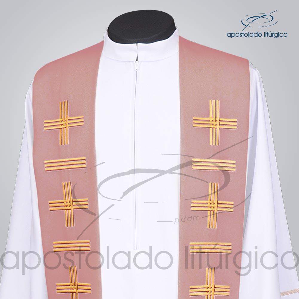 Estola Presbiteral Oxford Bordada Cruz Vida 1 Rosa Frente Bordado Superior | Apostolado Litúrgico Brasil