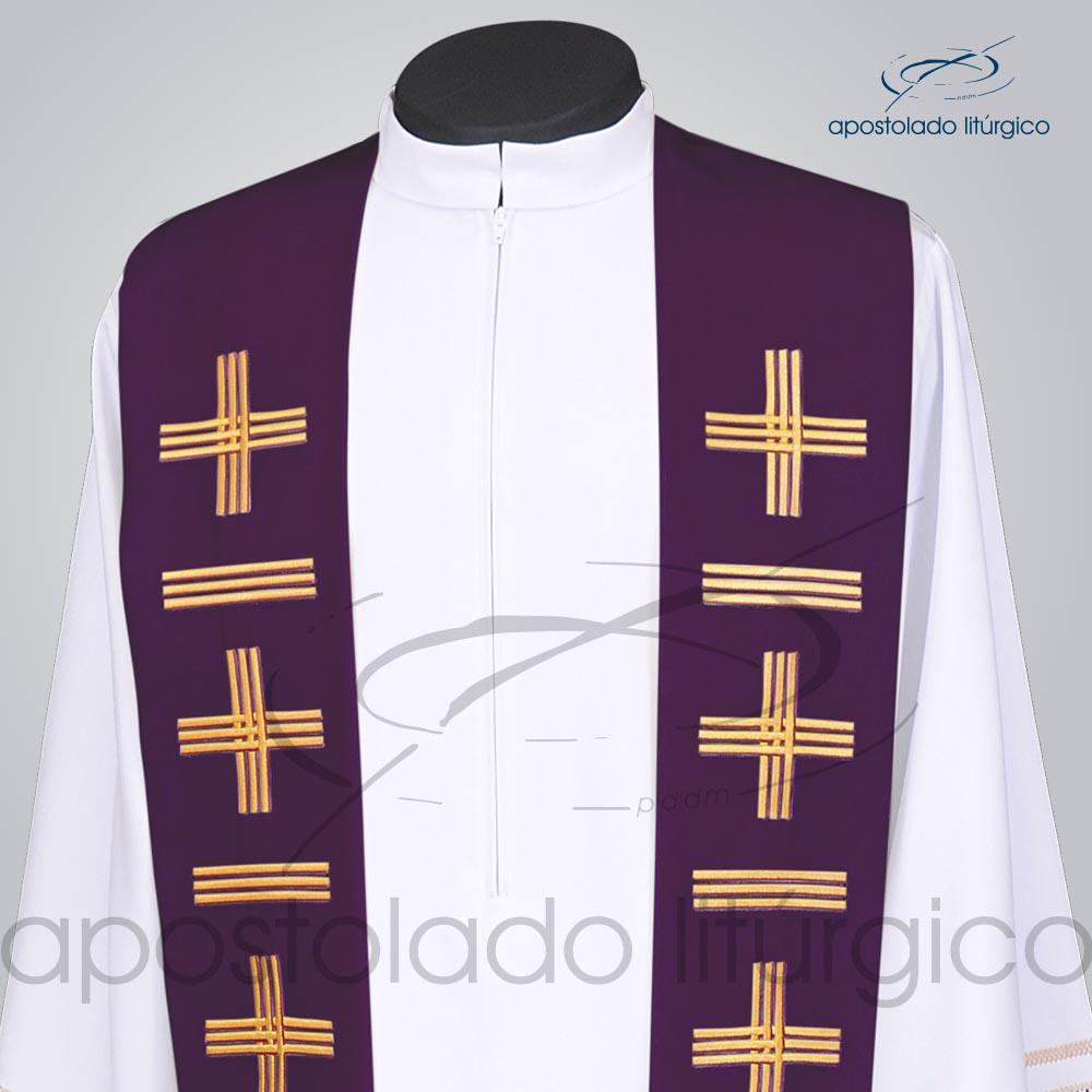 Estola Presbiteral Oxford Bordada Cruz Vida 1 Roxa Frente Bordado Superior | Apostolado Litúrgico Brasil