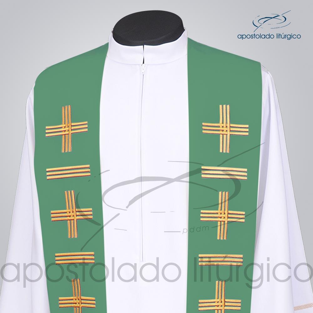 Estola Presbiteral Oxford Bordada Cruz Vida 1 Verde Frente Bordado Superior | Apostolado Litúrgico Brasil