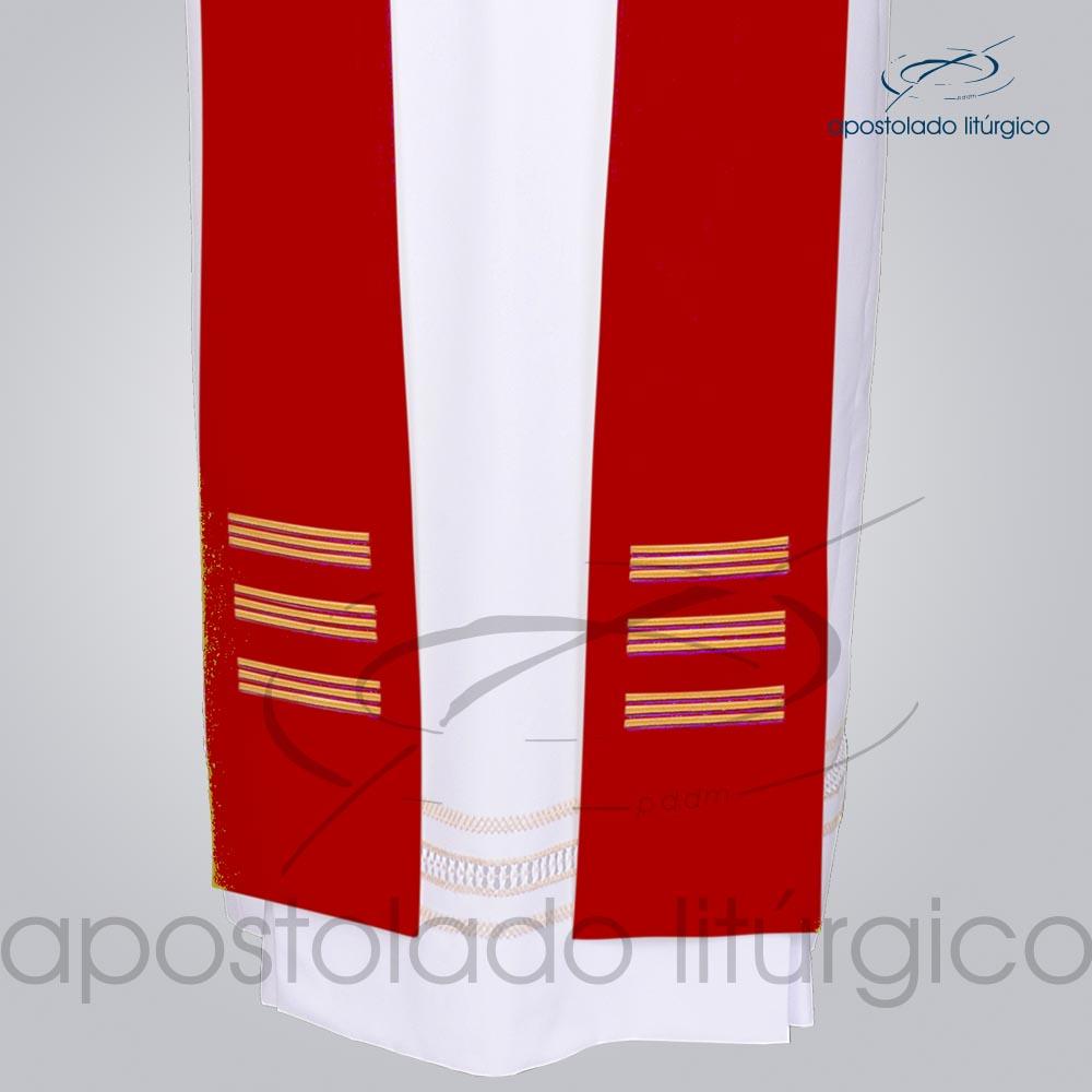 Estola Presbiteral Oxford Bordada Cruz Vida 1 Vermelha Frente Bordado Barra | Apostolado Litúrgico Brasil
