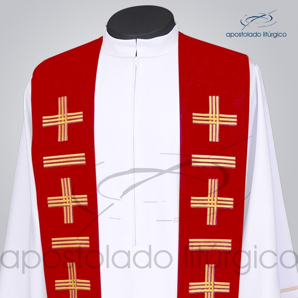 Estola Presbiteral Oxford Bordada Cruz Vida 1 Vermelha Frente Bordado Superior | Apostolado Litúrgico Brasil