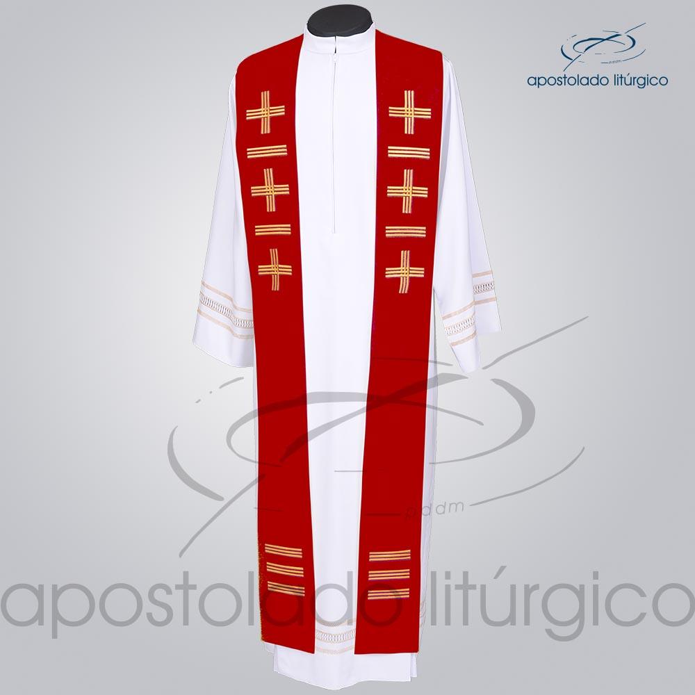 Estola Presbiteral Oxford Bordada Cruz Vida 1 Vermelha Frente | Apostolado Litúrgico Brasil
