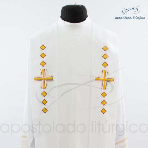 Estola Presbiteral Oxford Bordado Cruz Vida Branca Busto
