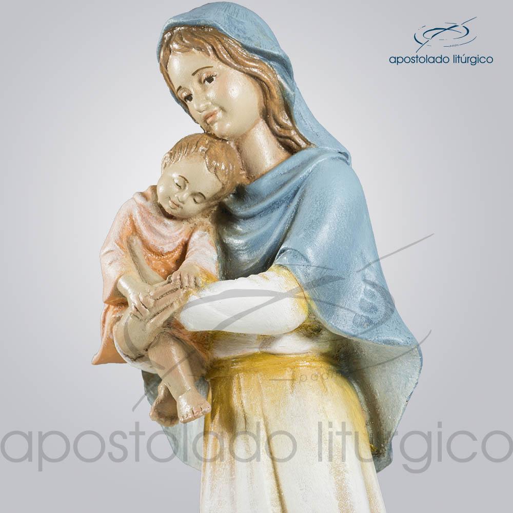 Imagem Maria com Menino 30cm Parte Superior Diagonal | Apostolado Litúrgico Brasil
