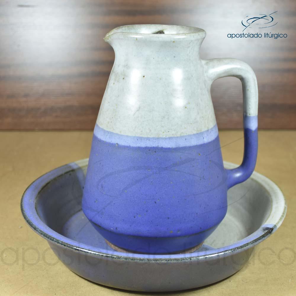 Jarra 24cm com Bacia 29cm Grande Azul Claro e Cinza Fosco