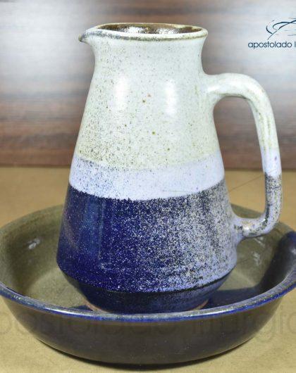 Jarra 24cm com Bacia 29cm Grande Azul e Cinza Brilhante