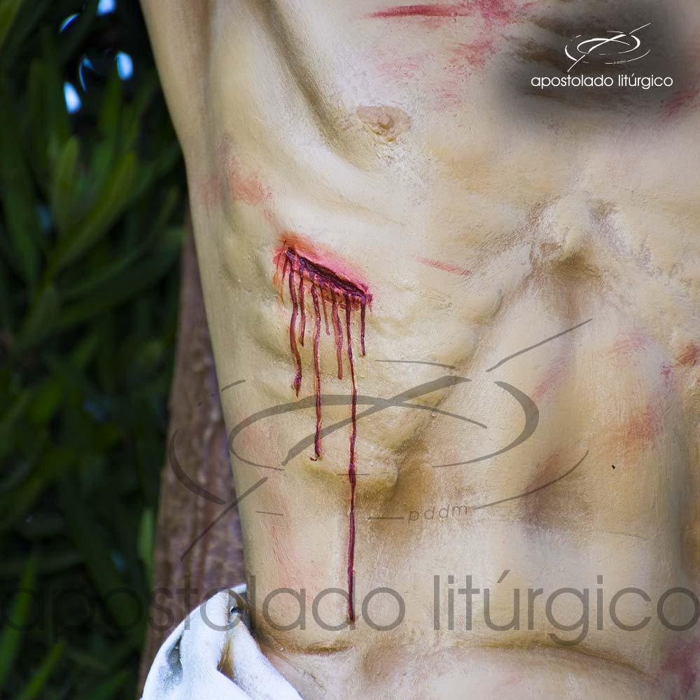 Imagem Cristo Crucificado 1 MT Cruz 2 MT chaga peito COD 4188 | Apostolado Litúrgico Brasil