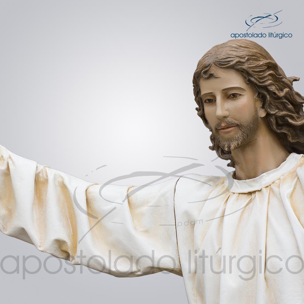 Imagem Cristo Ressucitado com tunica 180 cm detalhe rosto COD 4206 | Apostolado Litúrgico Brasil