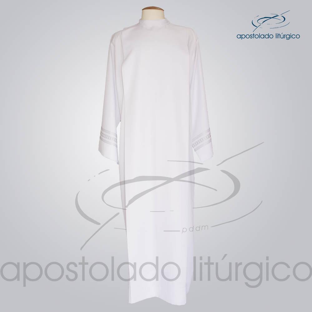 Tunica Pregao Tecido Inteligente Bordado 1 Cinza Manga Frente COD 03260 0000 | Apostolado Litúrgico Brasil