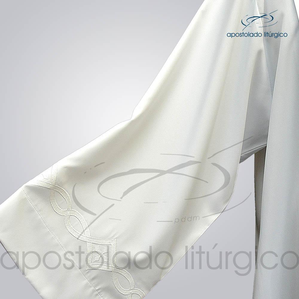 Túnica Pregão Bordado 3 Branco Manga Tecido Inteligente Branco