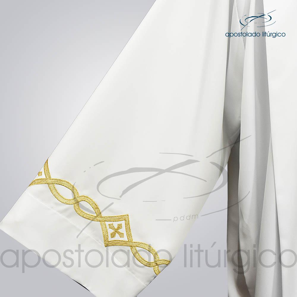 Túnica Pregão Bordado 3 Dourado Manga Tecido Inteligente Branco
