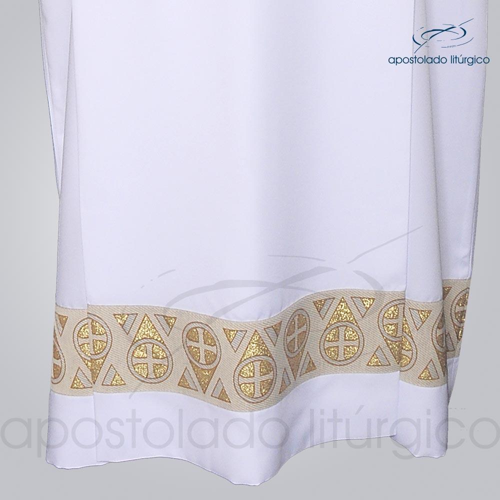 Tunica Tecido Inteligente Pregao Galao Largo N15 Dourado Manga e Barra Frente detalhe barra | Apostolado Litúrgico Brasil