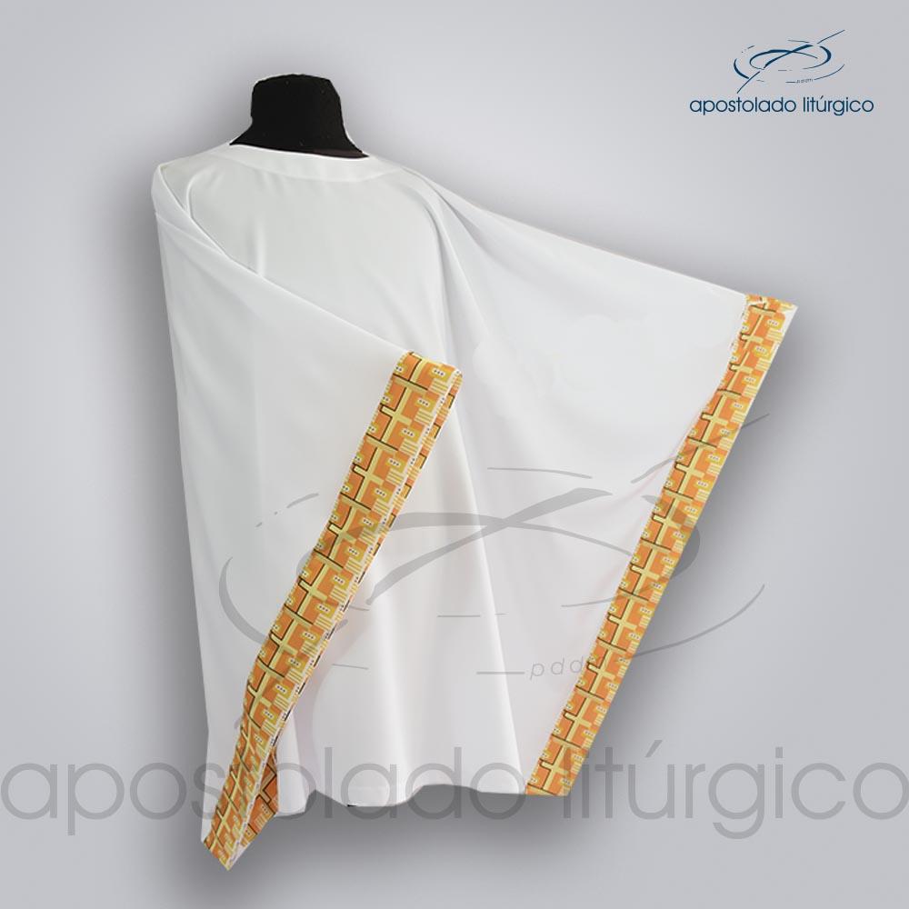 Veste Aplique 19 Arredondada frente manga lateral frente | Apostolado Litúrgico Brasil