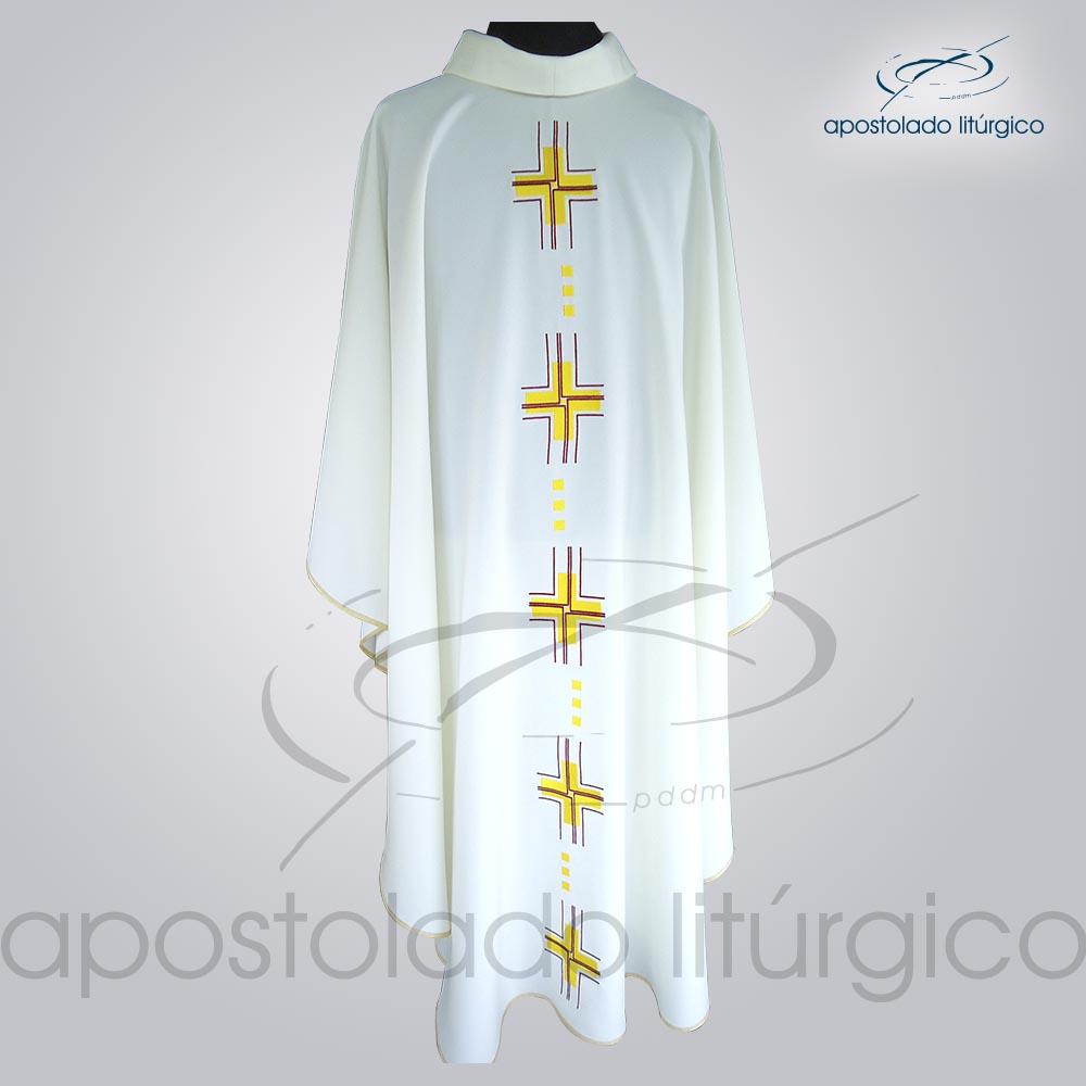 Casula Oxford Bordado Cruz Gloriae Bege Frente COD 38982   Apostolado Litúrgico Brasil