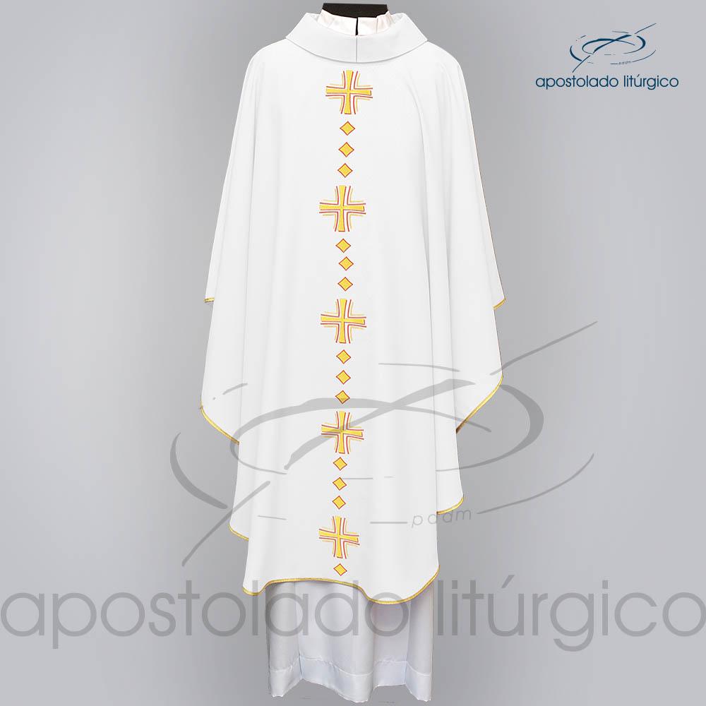 Casula Oxford Bordado Cruz Vida Branca Frente COD03121 | Apostolado Litúrgico Brasil
