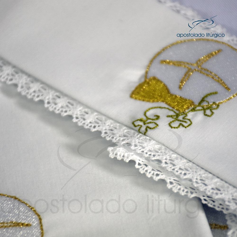 Conjunto Altar Algodão M 50x50 Bordado Cálice e Pão codigo 3079 DETALHE | Apostolado Litúrgico Brasil