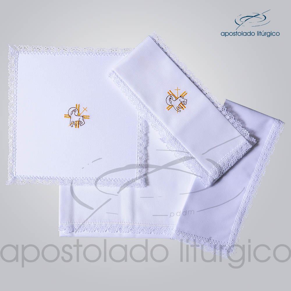 Conjunto de Altar Algodao Bordado Cordeiro A1 COD 01751 0005 | Apostolado Litúrgico Brasil