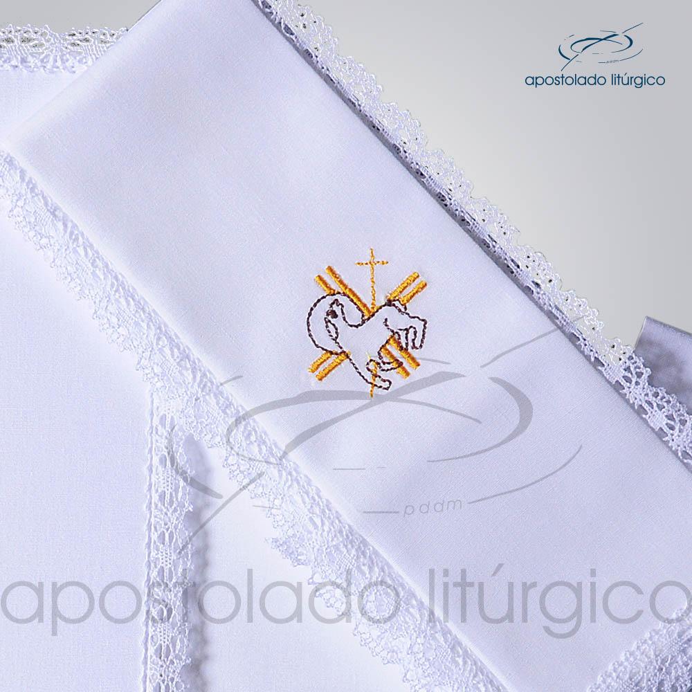Conjunto de Altar Algodao Bordado Cordeiro A1 Dezenho COD 01751 0005 | Apostolado Litúrgico Brasil