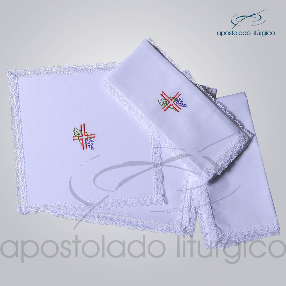 Conjunto de Altar Algodao Bordado Cruz Uva COD 01751 0003 | Apostolado Litúrgico Brasil