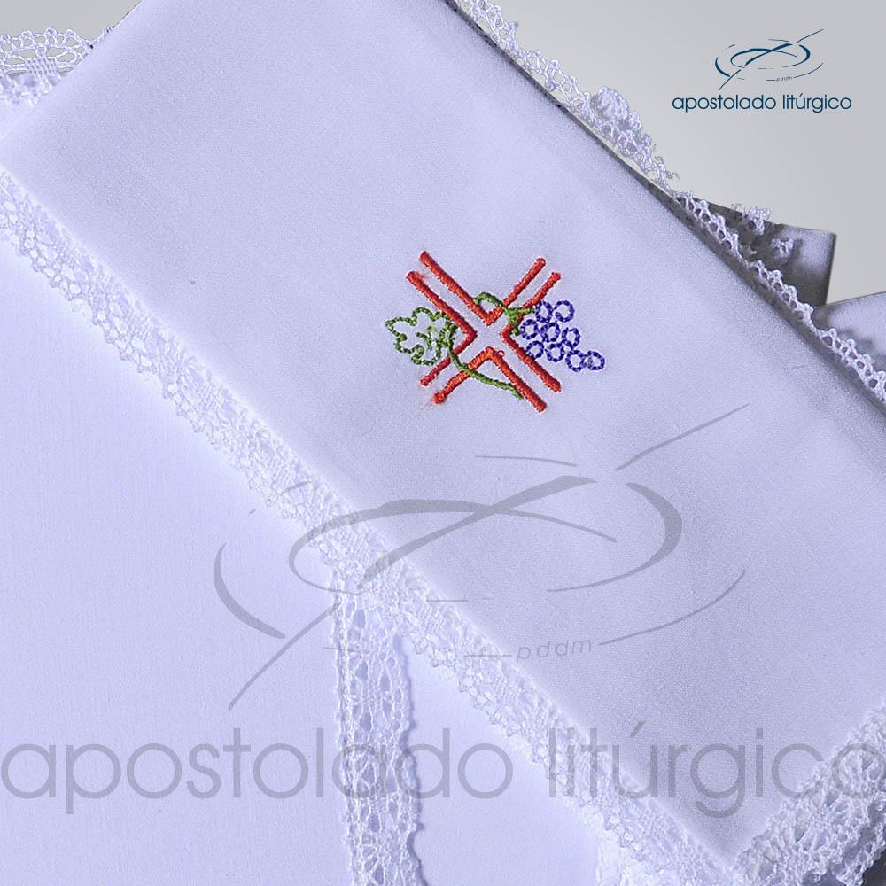 Conjunto de Altar Algodao Bordado Cruz Uva Dezenho COD 01751 0003 | Apostolado Litúrgico Brasil