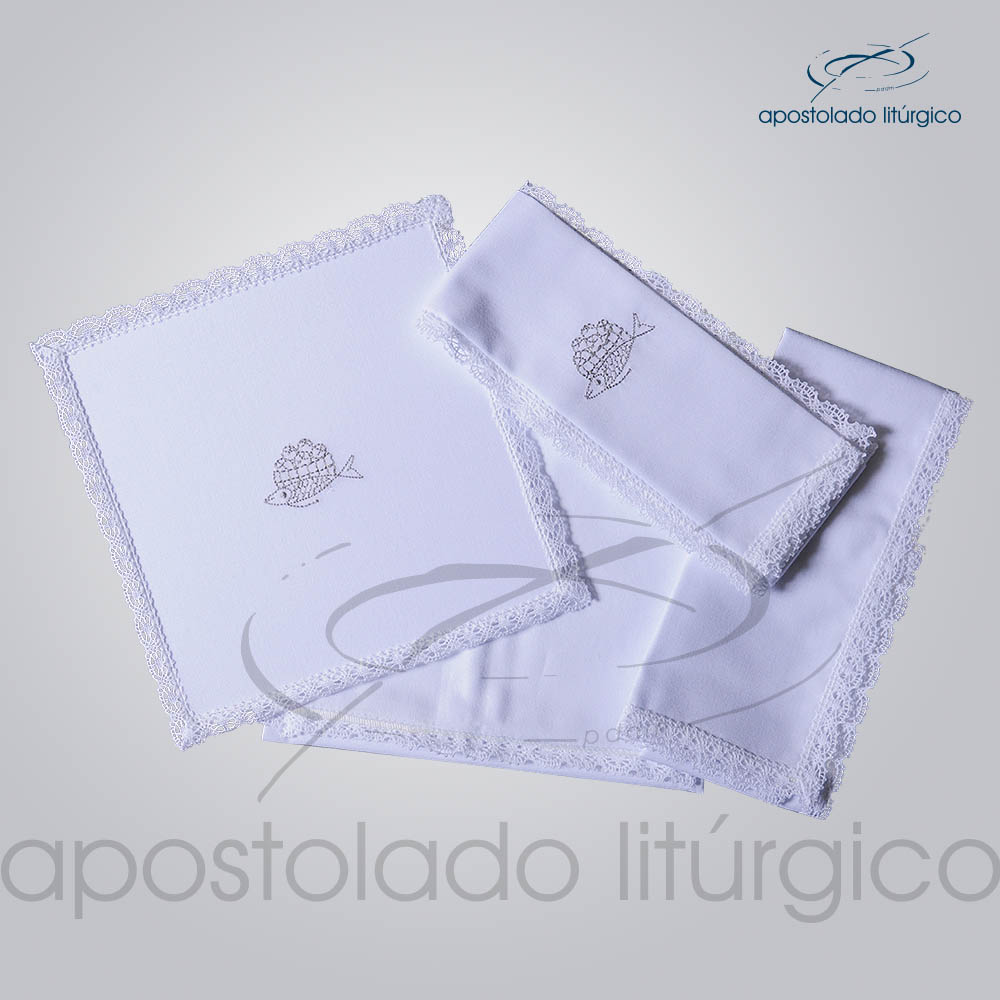 Conjunto de Altar Algodao Bordado Peixe Pao COD 01751 0009 | Apostolado Litúrgico Brasil