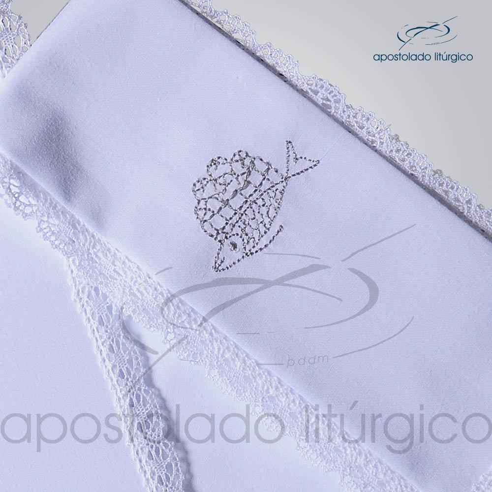 Conjunto de Altar Algodao Bordado Peixe Pao Dezenho COD 01751 0009 | Apostolado Litúrgico Brasil