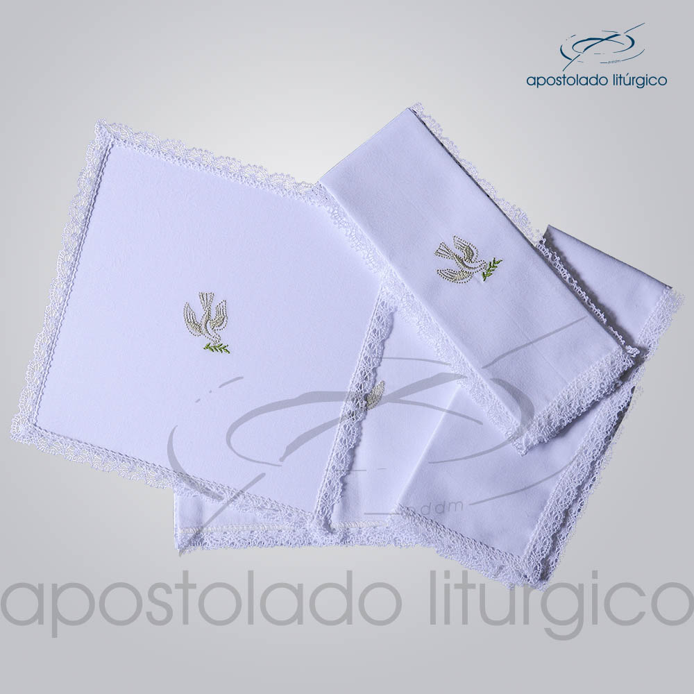 Conjunto de Altar Algodao Bordado Pomba COD 01751 0008 | Apostolado Litúrgico Brasil