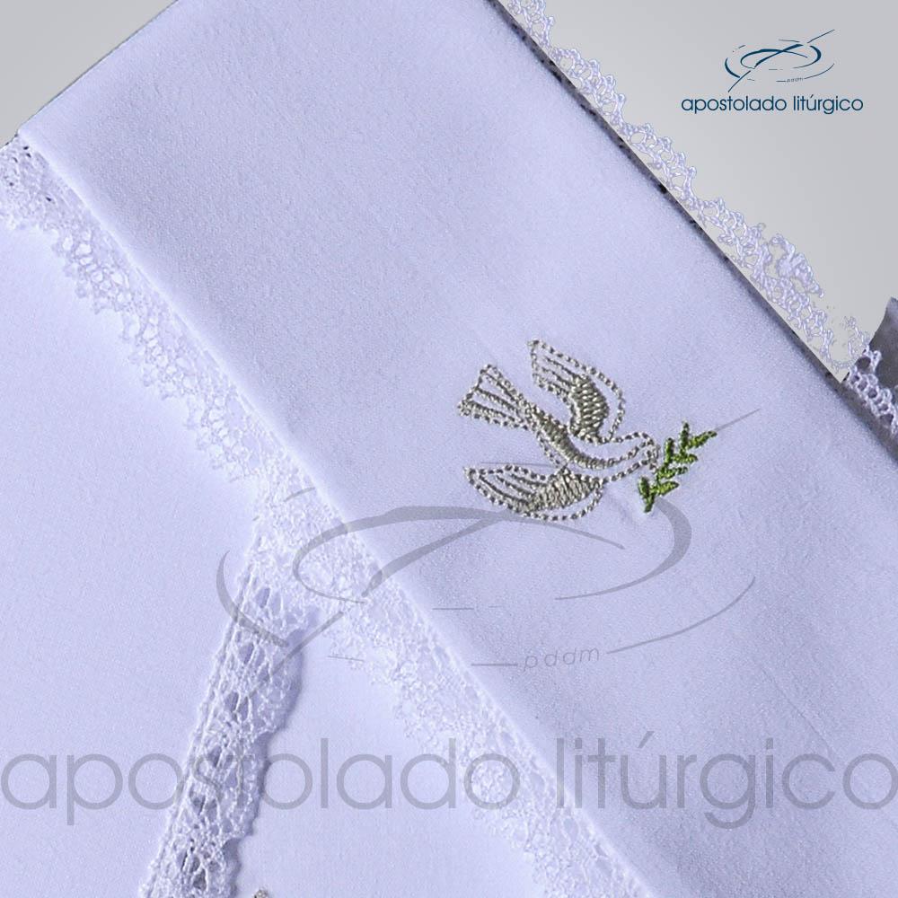Conjunto de Altar Algodao Bordado Pomba Dezenho COD 01751 0008 | Apostolado Litúrgico Brasil