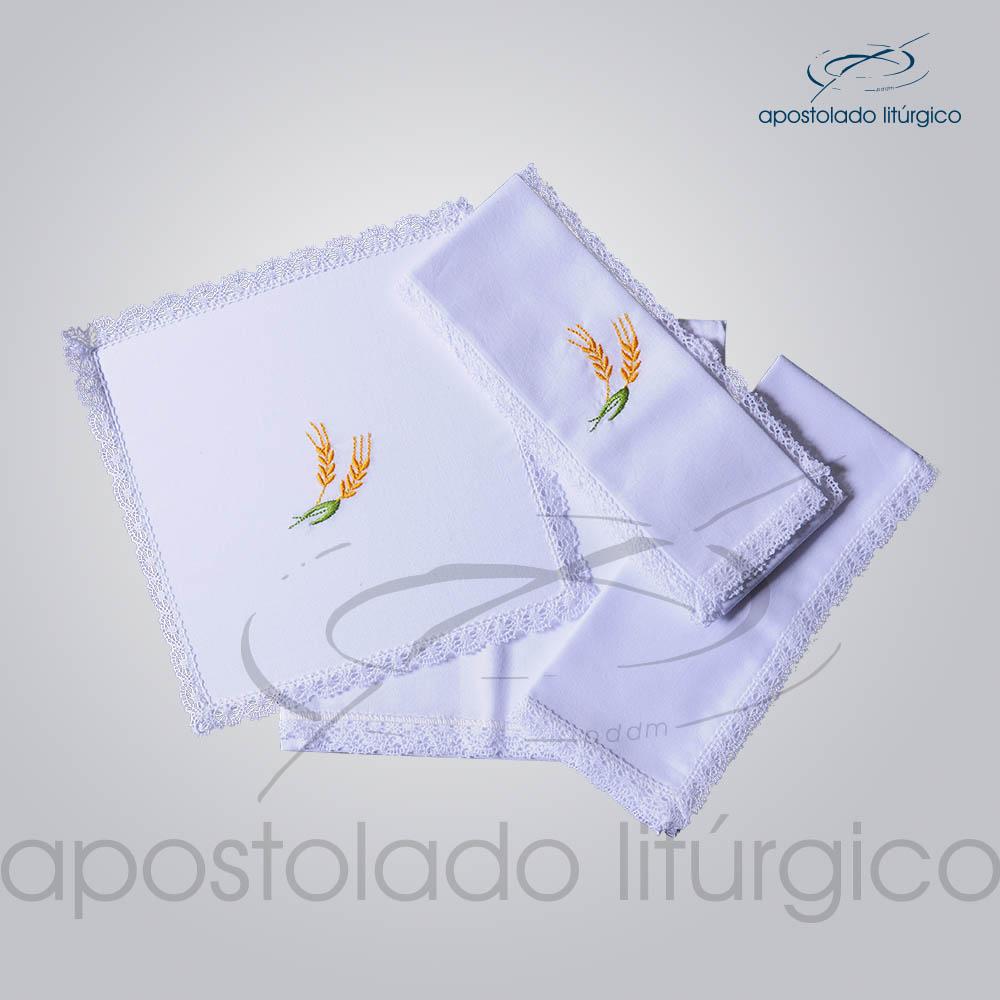 Conjunto de Altar Algodao Bordado Trigo COD 01751 0001 | Apostolado Litúrgico Brasil