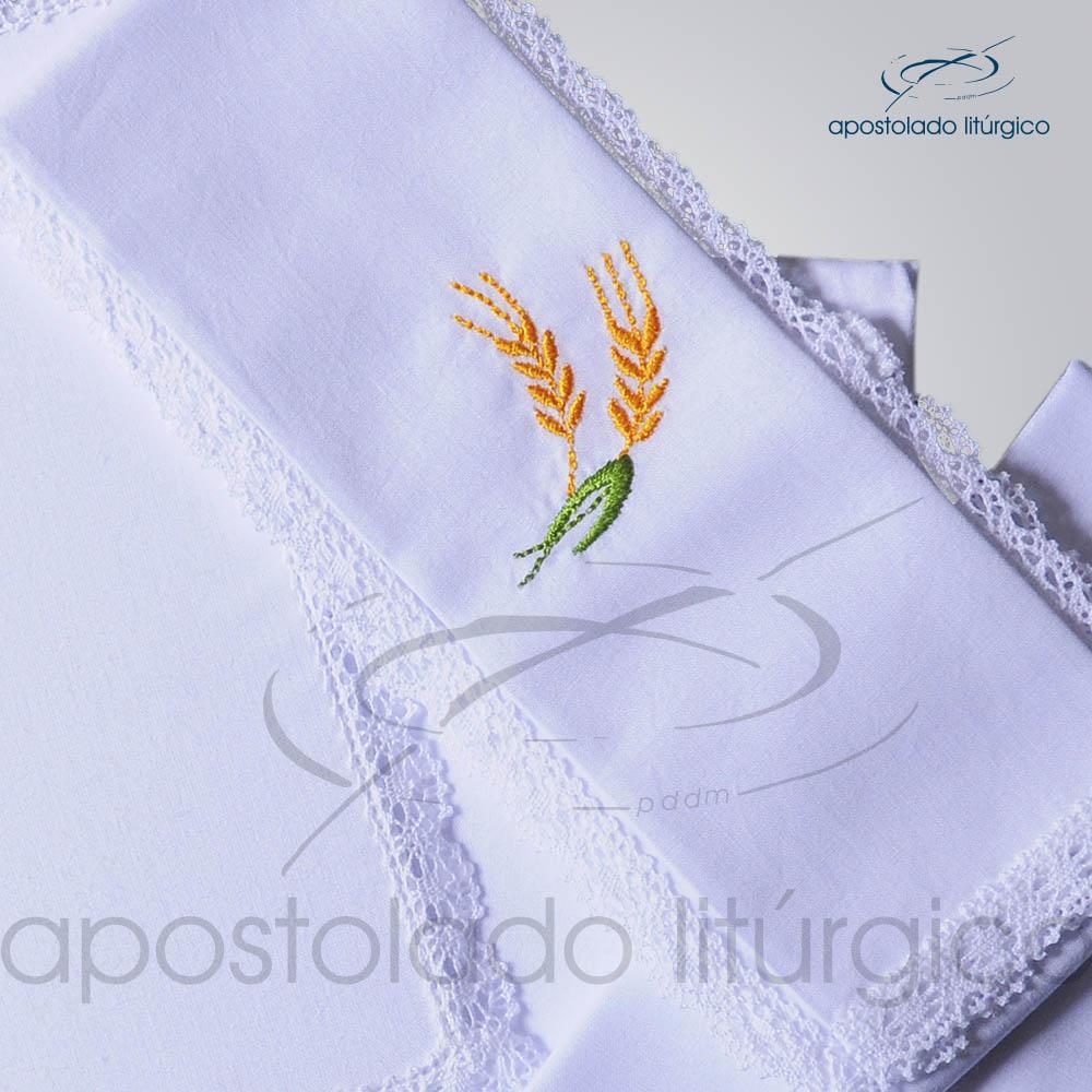 Conjunto de Altar Algodao Bordado Trigo Dezenho COD 01751 0001 | Apostolado Litúrgico Brasil