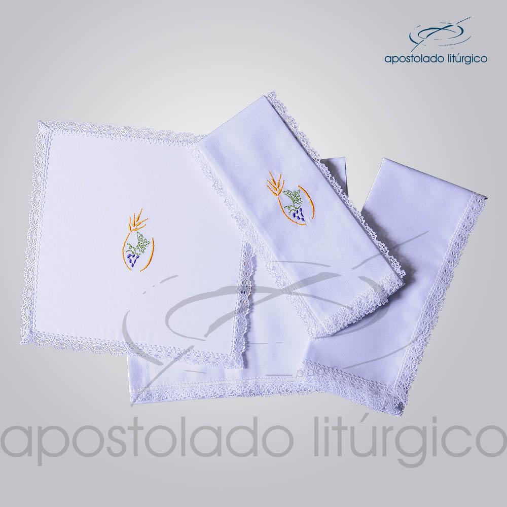 Conjunto de Altar Algodao Bordado Trigo Uva COD 01751 0004 | Apostolado Litúrgico Brasil