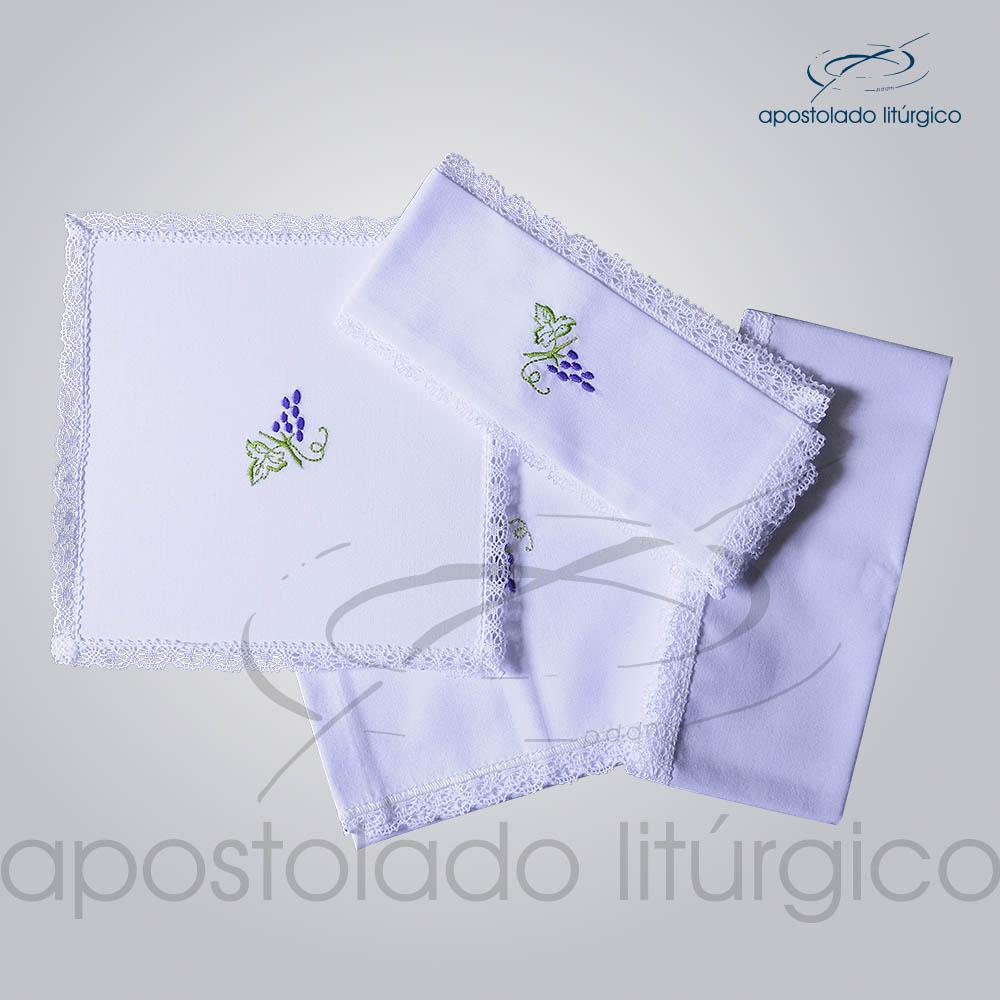 Conjunto de Altar Algodao Bordado Uva COD 01751 0002 | Apostolado Litúrgico Brasil