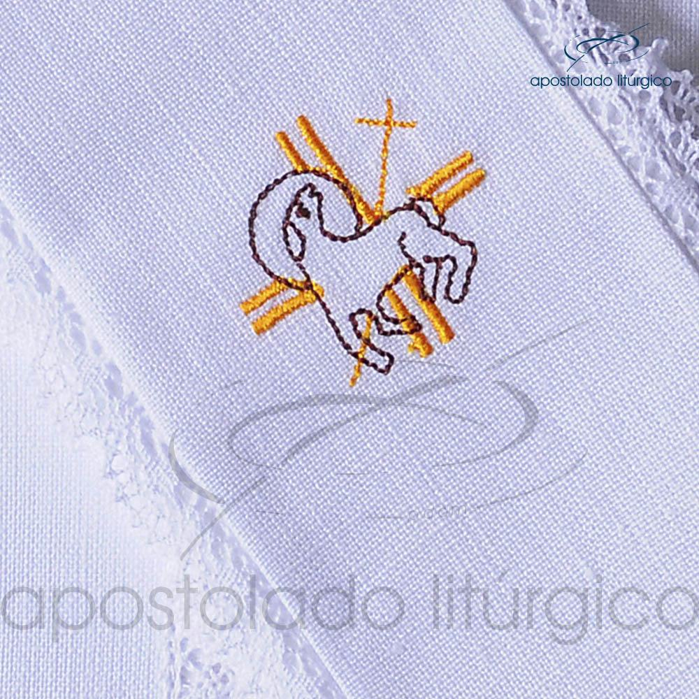Conjunto de Altar de Linho Bordado Cordeiro A1 Dezenho COD 01771 0005 | Apostolado Litúrgico Brasil